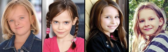 (l-r) the 4 Broadway Matildas: Milly Shapiro, Oona Laurence, Bailey Ryon and Sophia Gennusa