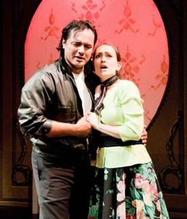 Jesus Daniel Hernandez as Ricky  and Laura Wehrmeyer as Lauretta (Photo: Paul Aebersold)