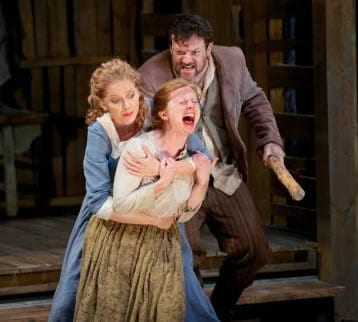 "Rod Brogan as ""Judah,"" Becky Byers as ""Rebekkah,"" and Susannah Hoffman as ""Abigail Williams""Photo: Seth Freeman)"