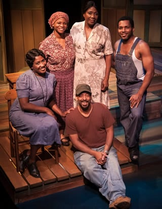 The cast of Gee's Bend with Thomas W. Jones II (seated)