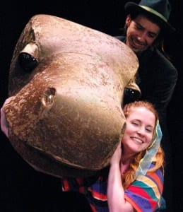 Casie Platt as Lulu. Vaughn Irving as the puppeteer and voice of Mr. B, the brontosaurus ( Photo: Blake Echols)