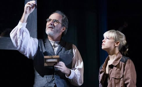 Eric Hissom as Friar Lawrence and Erin Weaver as Juliet (Photo: Teresa Wood._