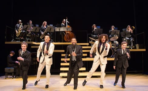 (l-r) Max Heimowitz, John Manzari, Maurice Hines, Leo Manzari and Sam Heimowitz, with members of the DIVA Jazz Orchestra, ( Photo: Teresa Wood)