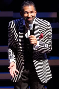 The moment in the show Tappin' Thru Life when Maurice Hines sports the striped Armani  jacket (Photo: Teresa Wood)