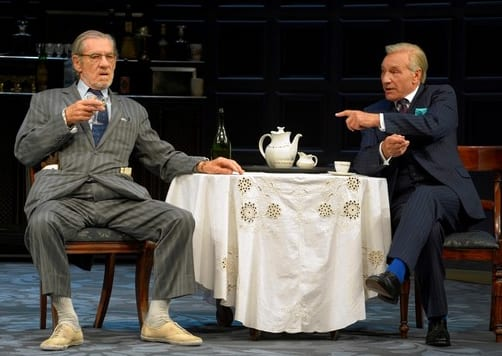 Ian McKellen as Spooner and Patrick Stewart as Hirst in No Man's Land in rep at the Cort Theatre