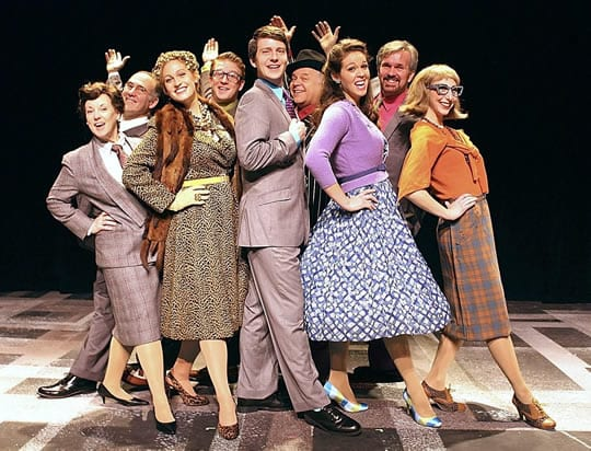 Sherri L. Edelen (furthest left) with the cast of Olney Theatre's How To Succeed in Business without Really Trying