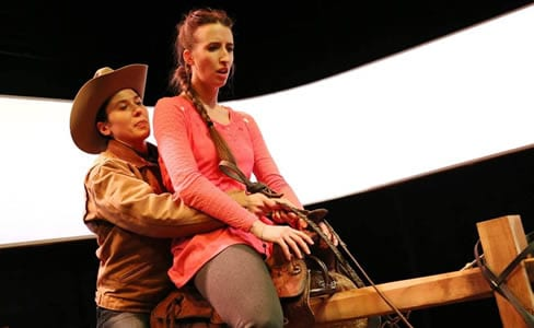 (l-r) Alyssa Wilmoth as Red and Sarah Olmsted Thomas as Mary (Photo