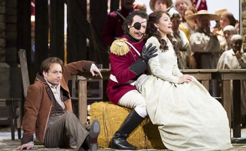 (l-r) Stephen Costello as Nemorino, Simone Alberghini as Sergeant Belcore, and Ailyn Pérez as Adina (Photo: Scott Suchman for WNO)