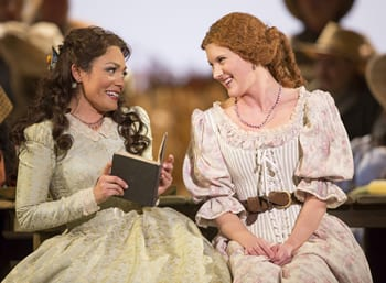 (l-r) Ailyn Pérez as Adina and Shantelle Przybylo as Giannetta (Photo: Scott Suchman for WNO)