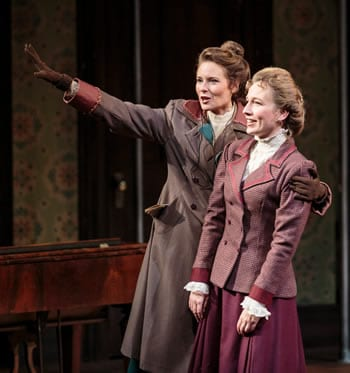 Henrietta Leavitt (Elena Wright) speaks about the stars with her sister Margaret (Jennifer Le Blanc) in Lauren Gunderson's SILENT SKY, presented by TheatreWorks Center for the Performing Arts, Palo Alto, CA (Photo: Mark Kitaoka)