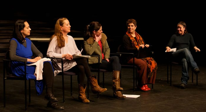 (l-r) Actors Salma Shaw, Amy McWilliams, Katie DeBuys, playwright Heather McDonald and Literary Manager Linda Lombardi from Masterpieces of the Oral and Intangible Heritage of Humanity by Heather McDonald (Photo by Ryan Maxwell)