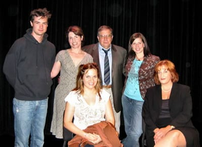 Cast of safeword   (l-r) Mark Sullivan, Kim Tuvin, Michael Willis, playwright Callie Kimball, (seated) Kimberly Gilbert, Donna Migliaccio. Not shown: Abby Wood and Bruce Jordan