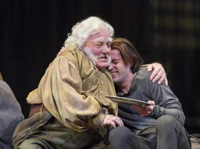 Stacy Keach as Falstaff and Matthew Amendt as Prince Hal in the Shakespeare Theatre Company production of Henry IV, Part 1(Photo: Scott Suchman)