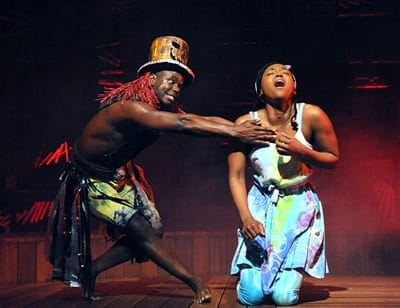From Once on This Island at Olney Theatre: James T. Lane as Papa Ge (Demon of Death) and Aisha Jackson as Ti Moune. (Photo: Stan Barouh)