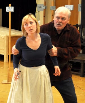 Stacy Keach (Falstaff) and Maggie Kettering (Doll Tearsheet) in rehearsal for Henry IV, Part 2. (Photo:  Elayna Speight)