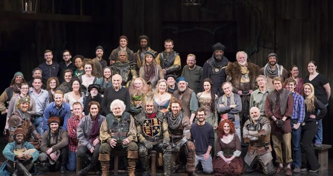 The cast and crew of Henry IV, Parts 1 and 2. Center is Stacy Keach, directly behind, Michael Kahn (Photo: Scott Suchman)