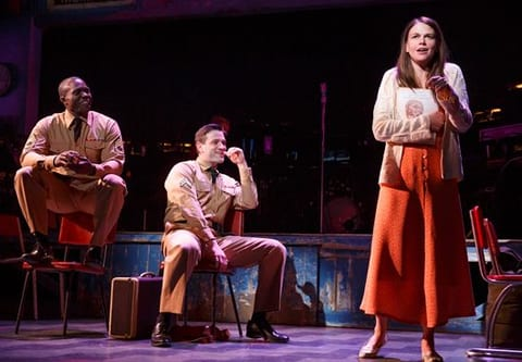 Joshua Henry as Flick, Colin Donnell as ___and Sutton Foster  as Violet (Photo: Joan Marcus)