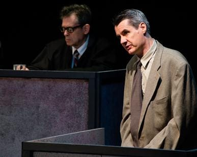 (right) Christopher Henley as Rudolph Peterson. Background: Tel Monks as Judge Ives. (Photo:  Johannes Markus)
