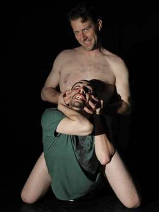 Sun King Davis as Killer Joe and Matthew Marcus as Chris Smith (Photo: courtesy of SeeNoSun OnStage)