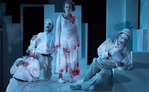 (l-r) Nello DeBlasio as  Titus, Matthew Pauli as Lucius, Miranda Medunga as Lavinia), and Toby Mulford as Marcus. (Photo:  Teresa Wood)