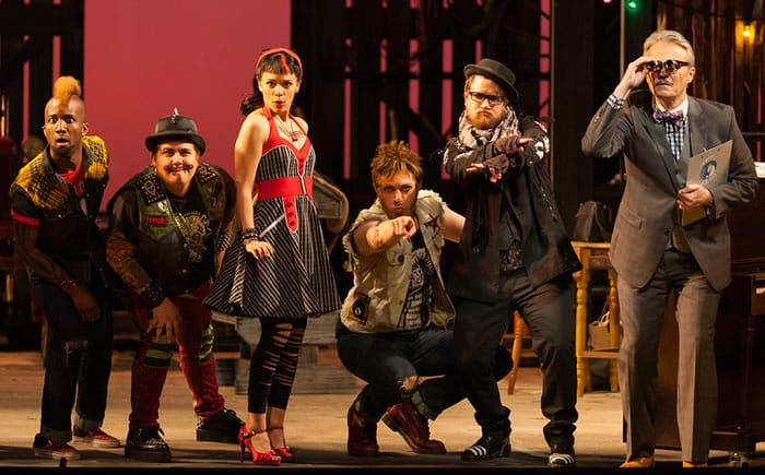 L to R: Carlton Ford as Harlequin, Brian Ross Yeakley as Brighella, Rachele Gilmore as Zerbinetta, Gerard Michael D'Emilio as Truffaldino, Andrew Penning as Scaramuccio and Wynn Harmon as Manager of the Estate (Photo: Karli Cadel/The Glimmerglass Festival)