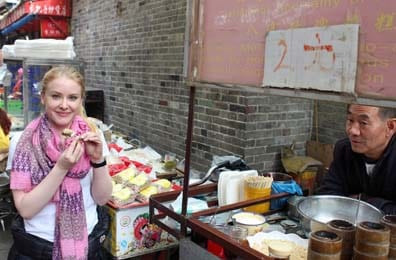 Kate Robards on the streets of Shanghai