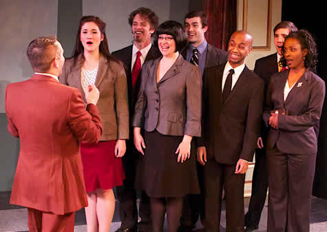 The cast of The Cole Porter Project (l-r)  Joseph Haughton (back) Sarah Anne Sillers, Tammy Roberts, Jase Parker, Tia Wortham. Back row from left: Kenneth Derby, Samuel Keeler, and Brian Shaw. (Photo: Angelisa Gillyard)