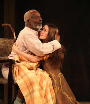 Bethan Cullinane as Cordelia and Joseph Marcell as King Lear. (Photo: Ellie Kurtz)
