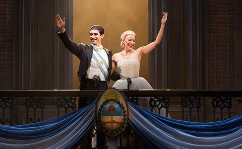 Sean MacLaughlin (Juan Peron) and Caroline Bowman (Evita) (Photo: Richard Termine)