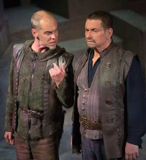 (l-r) Louis Butelli as Cassius and Anthony Cochrane as Brutus (Photo by Jeff Malet)