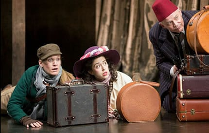 Zoë Waites as Rosalind, Adina Verson as Celia and Andrew Weems as Touchstone  (Photo: Scott Suchman)