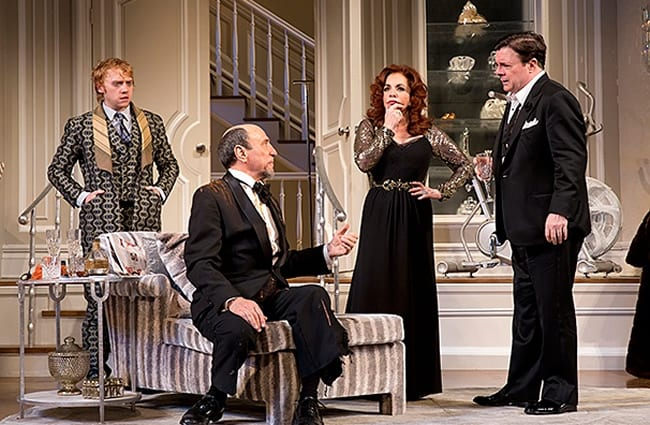 Rupert Grint as Frank Finger, F. Murray Abraham as Ira Drew, Stockard Channing as Virginia Noyes & Nathan Lane as James Wicker (Photo: Joan Marcus)