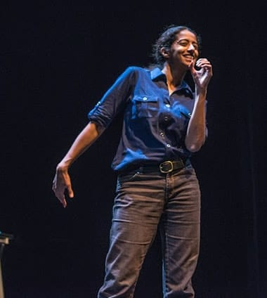 Anu Yadev as Shaneaqua in 'Capers at Forum Theatre