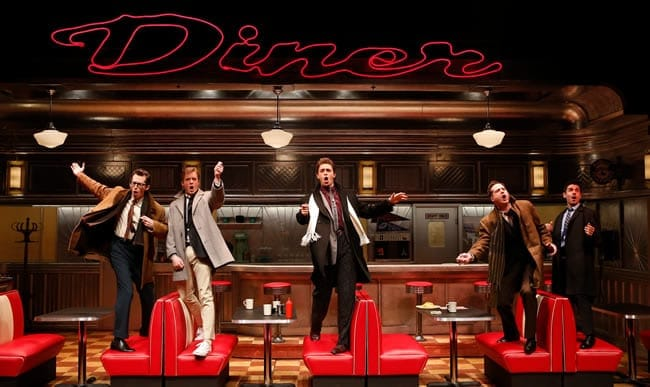 (l-r) Josh Grisetti (Shrevie), Matthew James Thomas (Fenwick), Derek Klena (Boogie), Bryan Fenkart (Modell), and Adam Kantor (Eddie) in Diner at Signature Theatre. (Photo: Carol Rosegg)