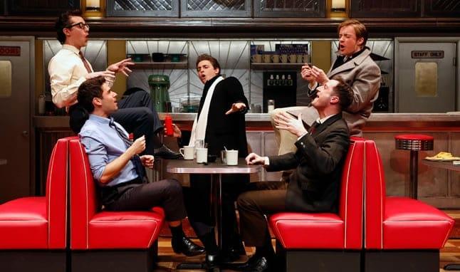 (l-r) Adam Kantor (Eddie), Josh Grisetti (Shrevie), Derek Klena (Boogie), Matthew James Thomas (Fenwick), and Bryan Fenkart (Modell) in Diner at Signature Theatre. (Photo: Carol Rosegg)