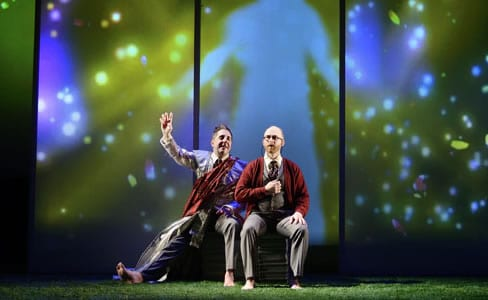 (l-r) Michael Frederic and Joel Rainwater in The Great Divorce (Photo: courtesy of Fellowship of Performing Arts)