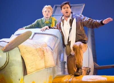 Henry Wager as The Little Prince and Christian Bowers as The Pilot (Photo: Scott Suchman)