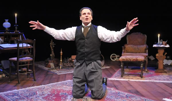 Paul Morella performs his adaptation of A Christmas Carol (Photo: Stan Barouh)