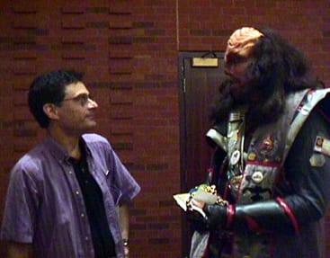 Marc Okrand with a Klingon fan, Star Trek convention, Toronto, 1999