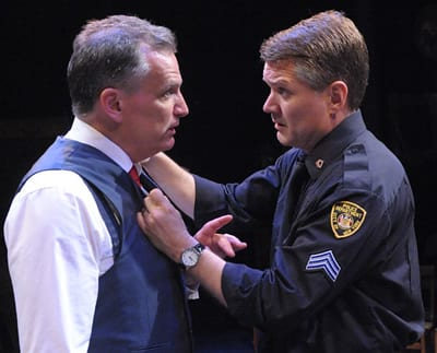 (l-r) Sean Haberle as Walter Franz and Charlie Kevin as Victor Franz in Olney Theatre Center's production of Arthur Miller's THE PRICE. (Photo: Stan Barouh)