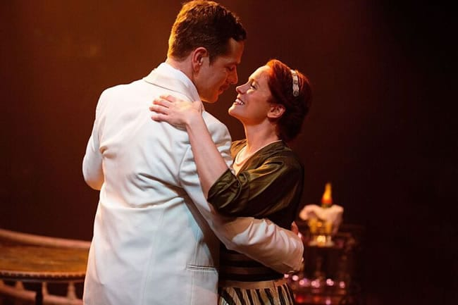 Russell Rinker as Emile de Becque and Teresa Danskey as Nellie Forbush in South Pacific, at Toby's Dinner Theatre  (Photo: Jeff Tidwell Photography)