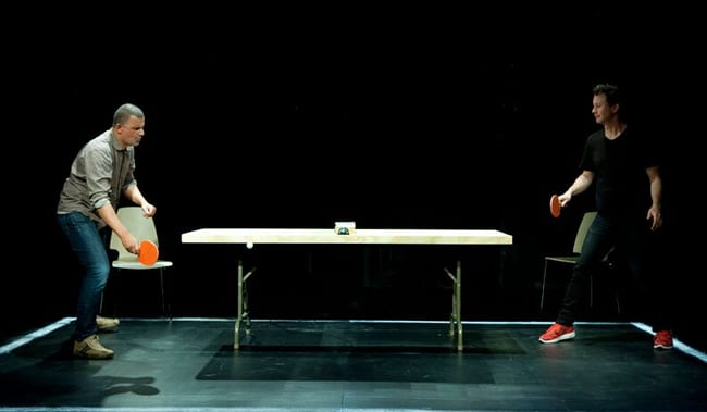 (l-r) Marcus Youssef and James Long in Winners and Losers at Woolly Mammoth Theatre (Photo: Simon Hayter)