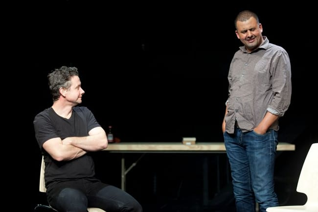 (l-r) James Long and Marcus Youssef in Winners and Losers at Woolly Mammoth Theatre (Photo: Simon Hayter)
