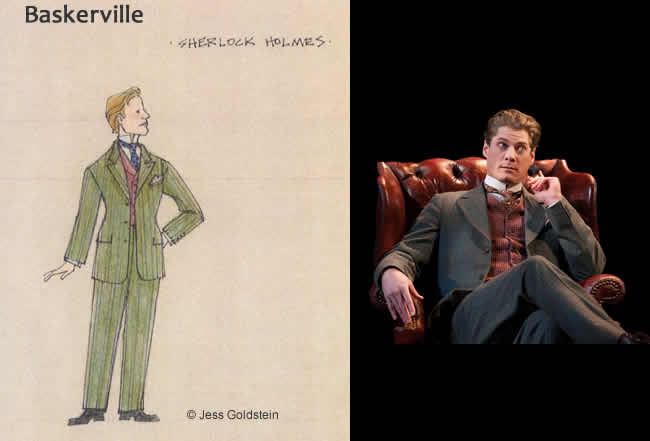(l) Jess Goldstein's design for Sherlock Holmes (r) Gregory Wooddell as Sherlock Holmes (Photo: Margot Schulman)