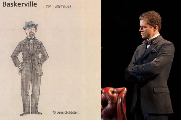 (l) Jess Foldstein's design for Dr. Watson (r) Lucas Hall as Doctor Watson (from Photo: Margot Schulman)