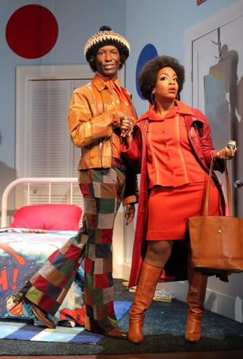 """Phillip James Brannon, Jessica Frances Dukes in Robert O'Hara's """"Booty Candy"""" at Playwrights Horizon (Photo: Joan Marcus)"""
