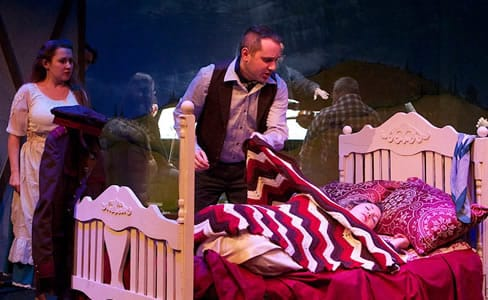 Lisa (Kimberly Christie) looks on as Elvino (Joe Haughton) discovers his fiancée Amina (CarrieAnne Winter) in a stranger's bed. (Photo: Angelisa Gillyard)