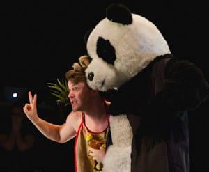 Zachary FlashGordon Gilbert with bear in The T Party (Photo: Noe Todovich Photography)
