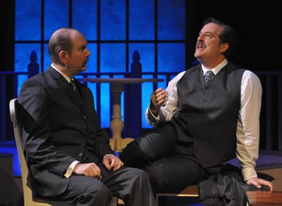 Bill Largesse and Michaeol Russotto in Travels with My Aunt, directed by Kasi Campbell at Rep Stage (Photo: Stan Barouh)