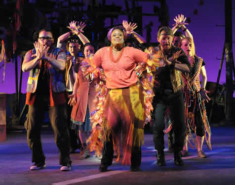 Nove Y. Payton (center) and the cast of Godspell, now at Olney Theatre